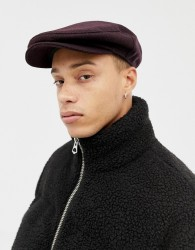 ASOS DESIGN flat cap in burgundy & black check - Red
