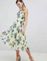 ASOS DESIGN Floral Pleated Midi Dress With Ruffle Open Back - Multi