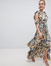 ASOS DESIGN Floral Print Satin Ruffle Sleeve Maxi Dress With Dipped Hem - Multi