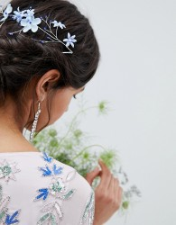 ASOS DESIGN Flower And Bead Wire Back Hair Clip - Silver