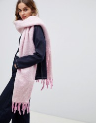 ASOS DESIGN fluffy two tone long scarf with tassels - Pink