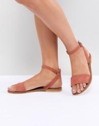 ASOS DESIGN Freja Leather Studded Flat Sandals - Red