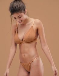 ASOS DESIGN Fuller Bust basic microfibre triangle bra in tonal golden - Brown