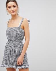 ASOS DESIGN gingham tie shoulder shirred beach dress - Multi