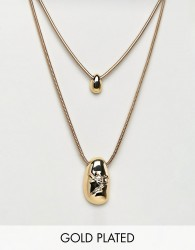 ASOS DESIGN Gold Plated Fluid Shape And Crushed Metal Multirow Necklace - Gold
