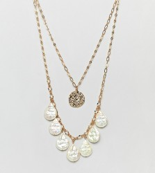 ASOS DESIGN Gold plated multirow double necklace with faux freshwater pearls - Gold