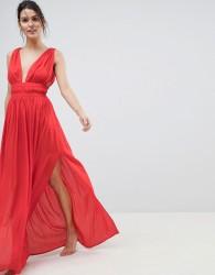 ASOS DESIGN Grecian Plunge Maxi Woven Beach Dress - Red