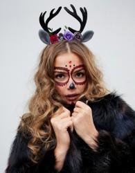 ASOS DESIGN HALLOWEEN headband with floral and novelty deer antlers in black - Black