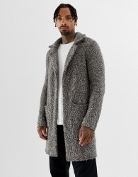 ASOS DESIGN heavyweight textured duster jacket in grey - Grey