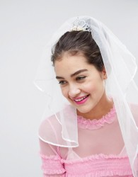 ASOS DESIGN Hen Veil With Tiara & Roses - White