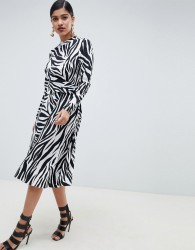 ASOS DESIGN high neck cut out midi dress in zebra print with long sleeves - Multi