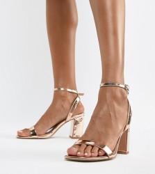 ASOS DESIGN Hong Kong barely there block heeled sandals - Gold