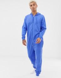 ASOS DESIGN hooded onesie in blue - Blue