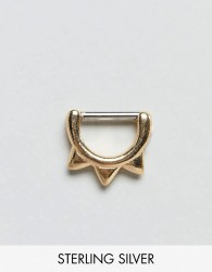 ASOS DESIGN hoop ear piercing with spike detail in gold - Gold