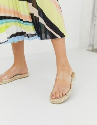 ASOS DESIGN Jetty clear espadrille mules - Clear