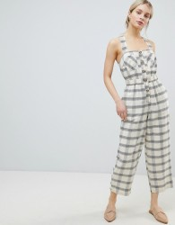 ASOS DESIGN Jumpsuit With Elasticated Waist And Button Detail In Check - Cream
