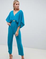 ASOS DESIGN Jumpsuit with Kimono Sleeve and Peg Leg - Blue