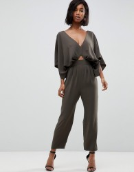 ASOS DESIGN Jumpsuit with Kimono Sleeve and Peg Leg - Green