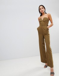 ASOS DESIGN Jumpsuit With Structured Bodice And Wide Leg - Green