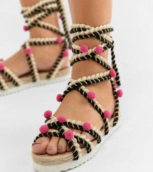 ASOS DESIGN Just Play Wide Fit Pom Sandals Espadrilles - Multi