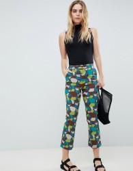 ASOS DESIGN kick flare trousers in tile print - Multi