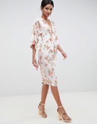 ASOS DESIGN Kimono Midi Dress In Printed Floral Jacquard - Multi