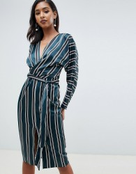 ASOS DESIGN kimono midi dress in stripe with wrap waist - Multi
