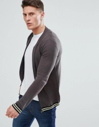 ASOS DESIGN Knitted Bomber Jacket In Grey With Tipping - Grey