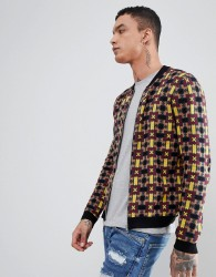ASOS DESIGN Knitted Bomber Jacket With Geometric Design - Multi
