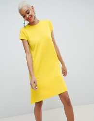 ASOS DESIGN knitted dress with frill hem and short sleeve - Yellow
