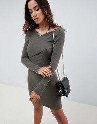 ASOS DESIGN knitted dress with wrap front - Green