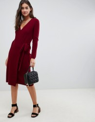 ASOS DESIGN Knitted Midi Dress In Rib With Wrap - Red