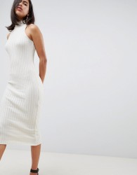 ASOS DESIGN knitted midi dress in skinny rib - Beige