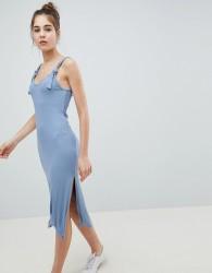 ASOS DESIGN knot strap rib column dress - Blue