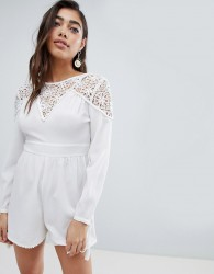 ASOS DESIGN Lace Insert Playsuit - White