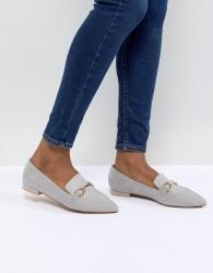 ASOS DESIGN Lance Pointed Loafer Ballet Flats - Grey