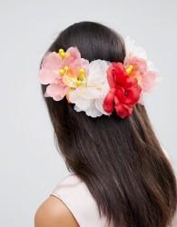 ASOS DESIGN Large Floral Bloom Back Hair Clip - Multi