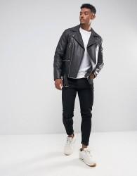 ASOS DESIGN leather biker jacket with belt in black - Black
