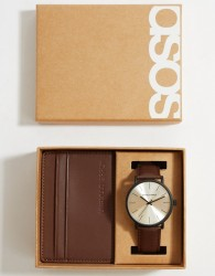 ASOS DESIGN leather gift set with watch and cardholder in brown - Brown