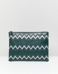 ASOS DESIGN leather large pouch in green with zig zag print - Green