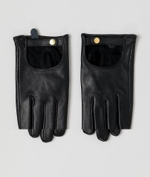 ASOS DESIGN leather plain gloves with touch screen - Black