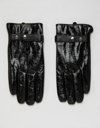ASOS DESIGN leather touchscreen gloves in black vinyl finish - Black