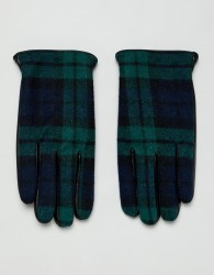ASOS DESIGN leather touchscreen gloves in black with check detail - Black