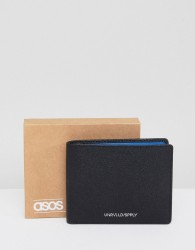 ASOS DESIGN leather wallet in black saffiano with blue internal detail - Black