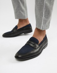 ASOS DESIGN loafers in black leather and navy suede - Black