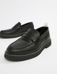 ASOS DESIGN loafers in black leather with chunky sole - Black