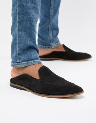 ASOS DESIGN Loafers In Black Suede With Collapsable Back - Black