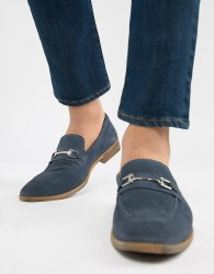 ASOS DESIGN Loafers In Blue Suede With Snaffle - Blue