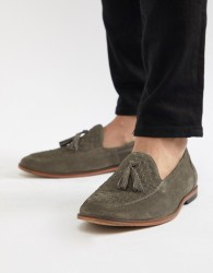 ASOS DESIGN Loafers In Grey Suede With Woven Detail - Grey