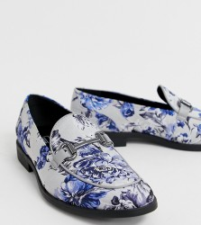 ASOS DESIGN loafers in multi floral print with snaffle - Multi